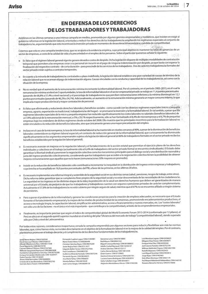 Comunicado publicado en La República
