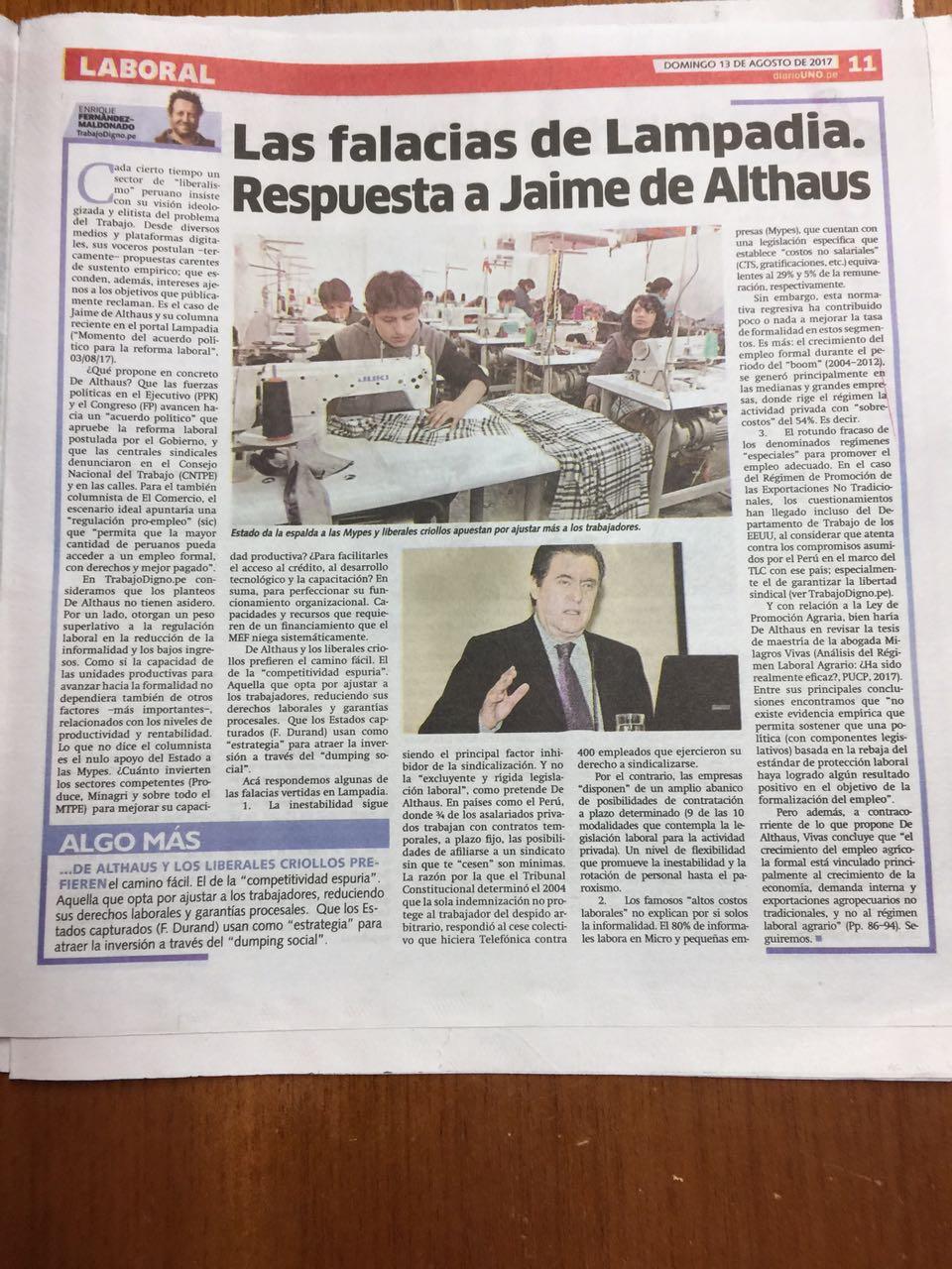 Las falacias de Lampadia. Respuesta a Jaime de Althaus