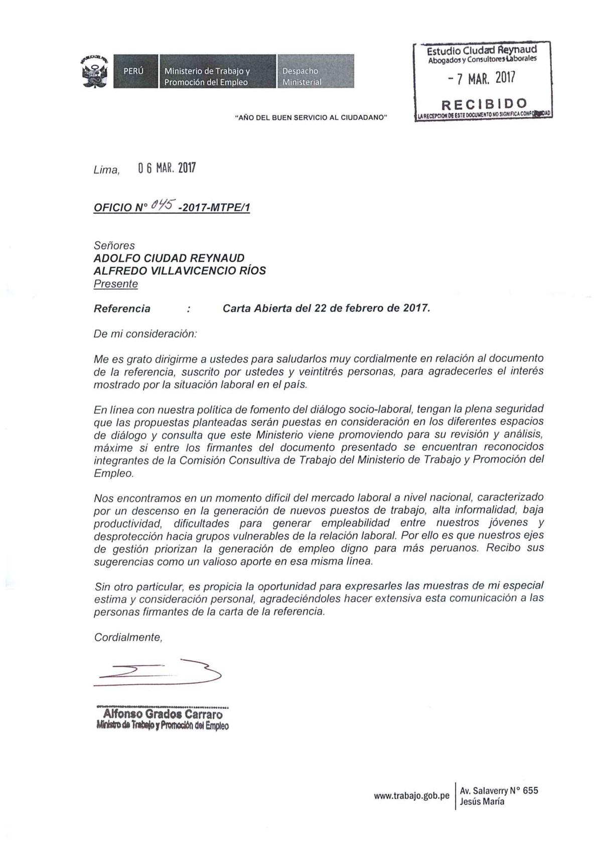 Ministro de trabajo responde a carta p blica de for Ministerio del interior empleo