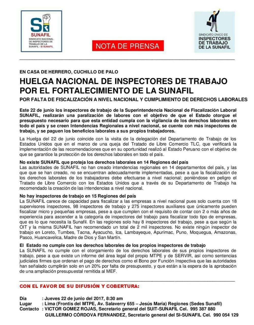 Inspectores de trabajo en Huelga PERÚ A UN PASO DE LA VERGÜENZA ...