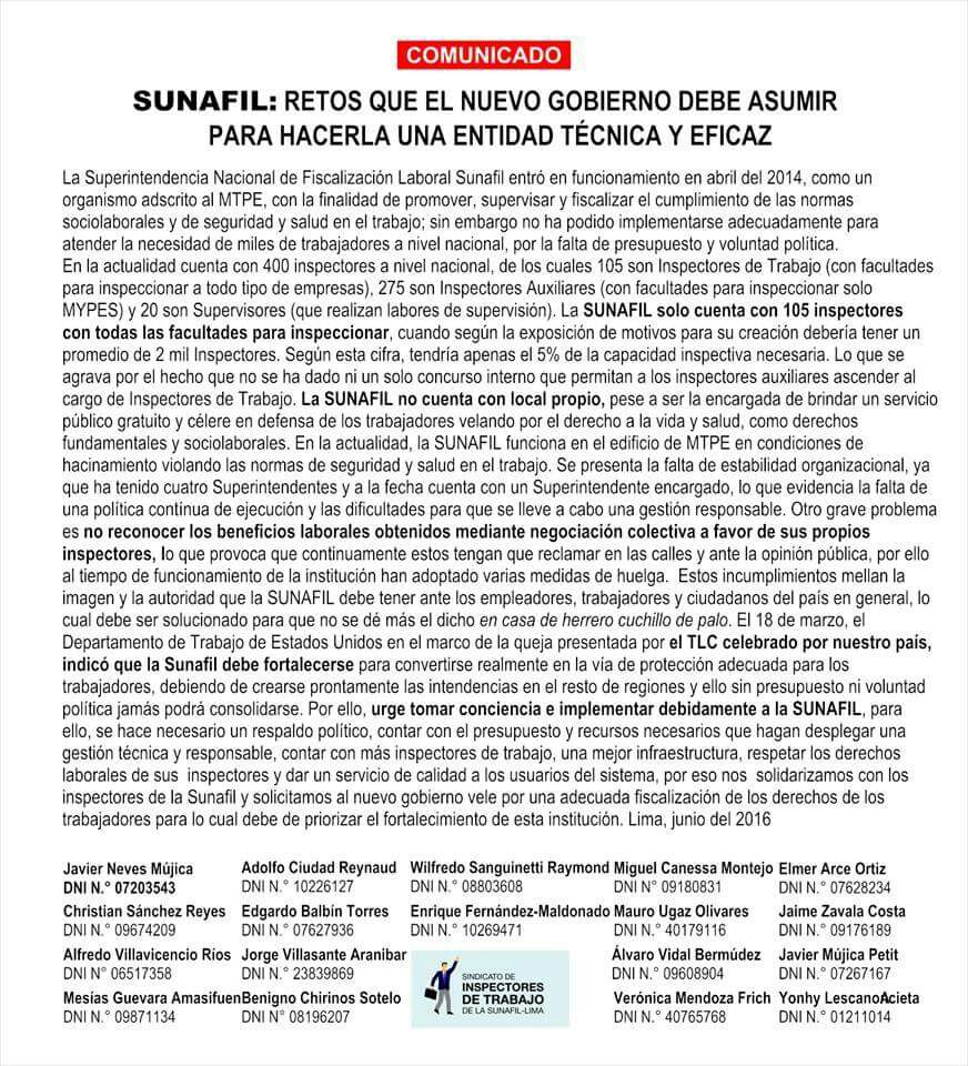 SUNAFIL comunicado 2016